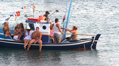 People on the little boat Stock Footage