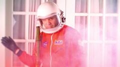 astronaut fire flames smoke - stock footage