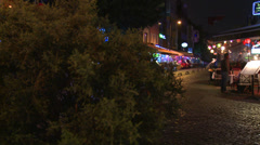 A night shot of a street in Istanbul, Turkey. Stock Footage