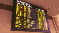 An airport departure board announces arrivals and departures. - stock footage