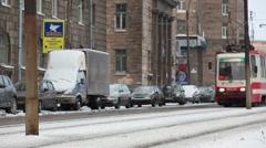 Urban public transport - tram. Winter season. Saint-Petersburg, Russia Stock Footage