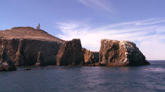 Anacapa Island, its lighthouse, and surrounding islets in Channel Islands Stock Footage