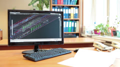 Engineer designer makes a 3D model of the plant on the computer - stock footage