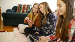 Casually Dressed Teenage Girls, Laughing With Smart Phone, Digital Tablet (side) Stock Footage