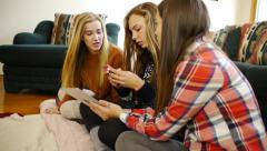Casually Dressed Teenage Girls, Talking With Smart Phone, Digital Tablet (side) - stock footage