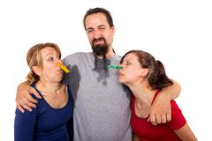 man sweats and women dont want to smell it - stock photo