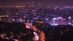 A high angle view over Los Angeles from the Hollywood Hills. Stock Footage