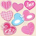 Stock Illustration of scrapbook set of hearts in stitched textile style