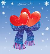 Two hearts conjuncted of warm scarf. valentines card Stock Illustration