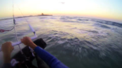 A POV shot from the vantage point of a windsurfer moving across waves. - stock footage