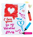 Stock Illustration of set of different colors markers and marks - sketch elements for valentines da