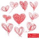 Stock Illustration of set of 10 scribbled hand-drawn sketch hearts for valentines day design