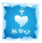 Postcard for valentine`s day with funny angels letters and clouds. Stock Illustration