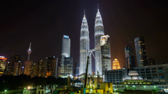 Timelapse Hyperlapse around KLCC Petronas Twin Tower Stock Footage