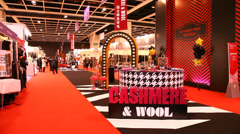Buyers and designers visit Hong Kong Convention and Exhibition Center Stock Footage