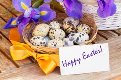 Happy easter   - eggs and blue irises Stock Photos