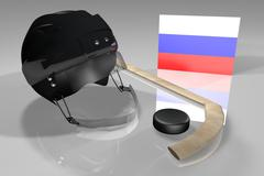 Russia hockey flag, helmet, puck and stick over reflecting surface, 3d render Stock Illustration
