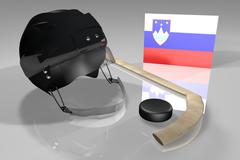 Slovenia hockey flag, helmet, puck and stick over reflecting surface, 3d render Stock Illustration