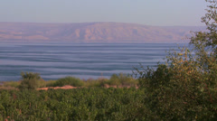 Establishing shot of the Sea of Galilee in israel. Stock Footage