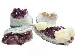 amethyst geode geological crystals - stock photo
