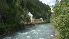 TARASP, SWITZERLAND: Pump Room or Trinkhalle 1875 along the river Inn Stock Footage