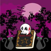 black magic book - abstract vector for halloween - stock illustration
