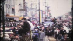 800 - crowd at New Orleans Mardi Gras - vintage film home movie Stock Footage