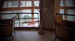 Mountain Hotel Living Panorama Stock Footage
