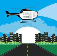Police helicopter patrolling the city at night Stock Illustration
