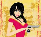 Stock Illustration of beautiful sexy girl holding gun