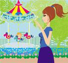 Stock Illustration of child playing on the carousel