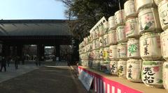 Yasukuni sake barrels Stock Footage