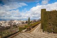 Stock Photo of gardens in granada in winter