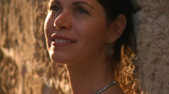 A beautiful Israeli woman smiles at the camera. Stock Footage