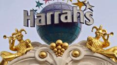 Las vegas harrahs resort casino sign Stock Footage