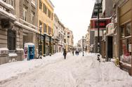 Stock Photo of First Snow Over Downtown Bucharest