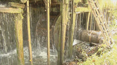 Old wooden water wheel rotating Stock Footage