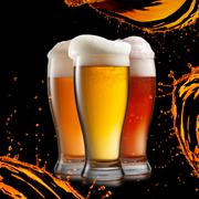 different beer in glasses wish splash isolated on black background - stock illustration