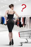 elegant woman shopping in a store - stock illustration