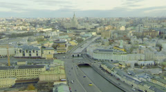 Cityscape with quay of Moskva river branch and Balchug island Stock Footage