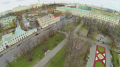 Cityscape with Kremlin complex and park of Bolotnaya square Stock Footage