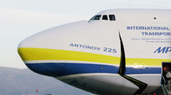 HD Antonov 225 Mriya airplane opening cargo door Stock Footage