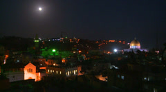 The Dome of the Rock towers over the Old City of Jerusalem at night. Stock Footage
