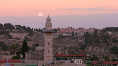 A time lapse view over the city skyline of the old city of Jerusalem with the Stock Footage