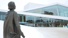 Opera House Oslo Norway statue of Kirsten Flagstad Stock Footage