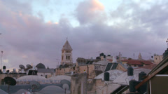A time lapse view over the city skyline of the old city of Jerusalem. - stock footage