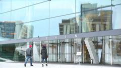 Opera House Oslo Norway close up details main entrance in winter Stock Footage