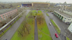 Traffic near workshop of reinforced concrete products plant Stock Footage
