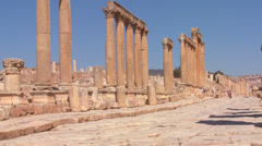 An ancient Roman road through the ruins of Jerash in Jordan. - stock footage