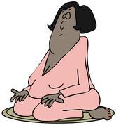 Meditating woman Stock Illustration